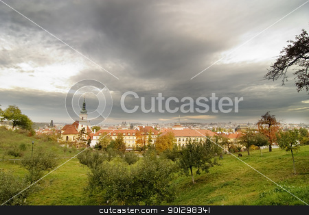Mala Strana City View stock photo, A prague scenic, view from Mala Strana, a park on the west side of the old town. by Tyler Olson