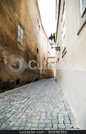 Small Street - Prague stock photo, A small skinny moody street detail in the old town area of Prague, Czech Republic. by Tyler Olson
