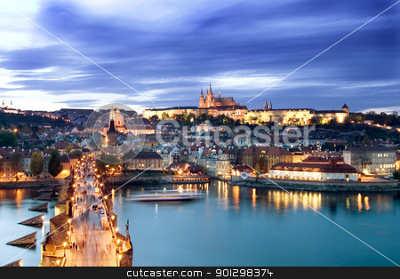 Prague Castle Cityscape stock photo, A view of the Prague Castle in the early evening, view from the Old Town Bridge Tower. by Tyler Olson