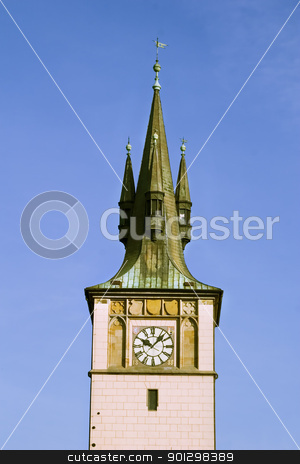 Prague Tower Detail stock photo, A tower detail in Prague, Czech Republic. by Tyler Olson