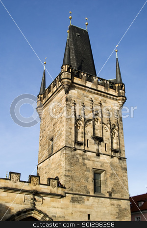 Charles Bridge Tower stock photo, Charles Bridge gate tower, Prague, Czech Republic. by Tyler Olson