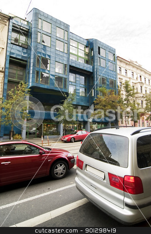 Contemporary Prague Architecture stock photo, A street in the old town area of Prague, Czech Republic by Tyler Olson