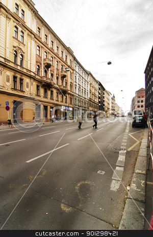 Prague Street Scene stock photo, A prague street in the old town area.  Czech Republic. by Tyler Olson
