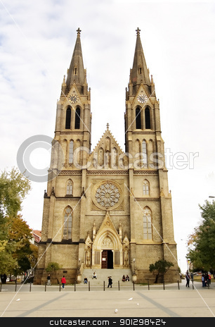 Miru Church stock photo, Church at the Namesti Miru Square Vinohrady Prague Czech Republic in late October. by Tyler Olson