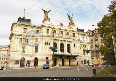 Prague Architecture stock photo, Vinohrady Namesti miru Vinohrady Theatre in Czech Republic Prague, Neo Renaissance faade and entrance.  In late October. by Tyler Olson