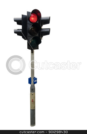 Traffic Light Isolated stock photo, An isolated traffic light from Prague. by Tyler Olson