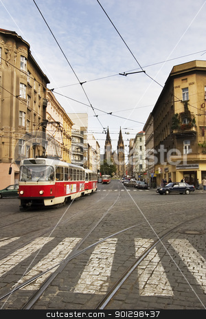 Prague City Detail stock photo, A street car travels down the street in old town Prague, Czech by Tyler Olson