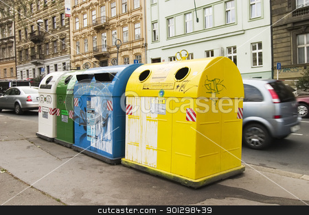 Recycle stock photo, Recycling containers in Prague Czech Republic. by Tyler Olson