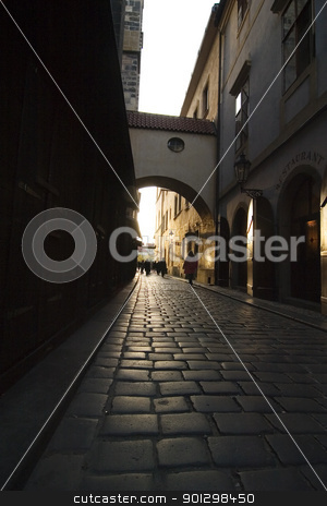 Small Dark Street stock photo, A small moody dark street in Prague, Czech Republic. by Tyler Olson