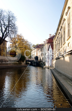Water Mill on River stock photo, A small river flowing through Prague, Czech Republic by Tyler Olson