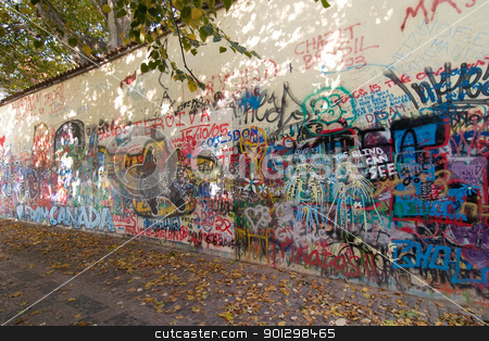 Graffiti Wall stock photo, 5 488 Mala Strana graffiti wall where people from all over the world sign their name, or leave their mark. by Tyler Olson
