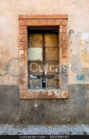 Grunge Window Detail stock photo, Window abstract detail on a street in Prague, Czech Republic. by Tyler Olson