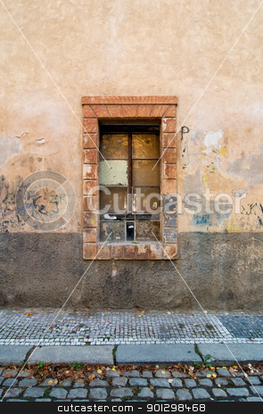 Weathered Street Detail stock photo, Window abstract detail on a street in Prague, Czech Republic. by Tyler Olson