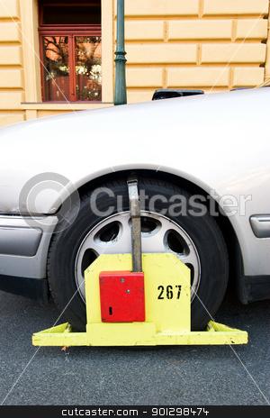Parking Ticket stock photo, A wheel block 'parking ticket' in Prague, Czech Republic. by Tyler Olson