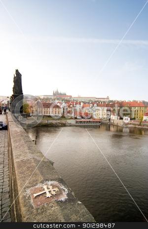 Charles Bridge Detail stock photo, Cross marking the death of Jan Nepomucky on Charles Bridge, Prague. by Tyler Olson