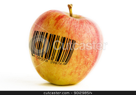 GMO Apple stock photo, A single apple with a bar code, genetically modified concept image. by Tyler Olson