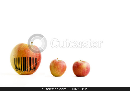 Genetic Modification stock photo, A genetically modified extra large apple with a generic bar code by Tyler Olson