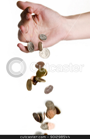Falling Money stock photo, A hand dropping coins by Tyler Olson
