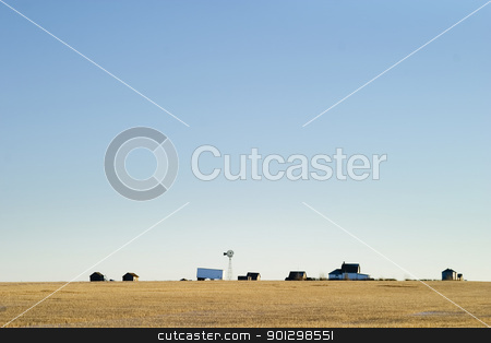 Prairie Yard stock photo, A prairie farm yard, on a very flat horizon. by Tyler Olson