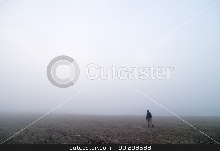 Fog Walk stock photo, Walk in the fog by Tyler Olson