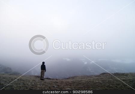 Fog Walk stock photo, Walk in the fog by Tyler Olson