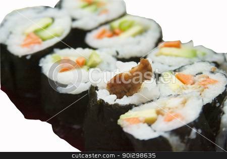 Sushi stock photo, Sushi isolated on white with clipping path by Tyler Olson