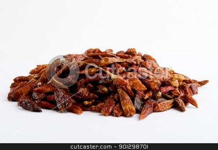 Bulk Hot Chillies stock photo, Dried bulk holt chillies by Tyler Olson