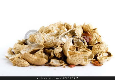 Peanut Shells stock photo, Peanut shells in a pile over white by Tyler Olson