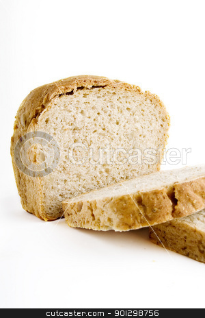 Homemade Bread Slice stock photo, A single slice of homemade bread on a white background. by Tyler Olson