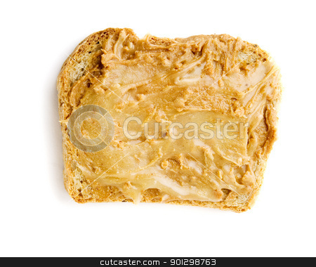 Peanut Butter and Honey stock photo, Slice of homemade bread with peanut butter and honey. by Tyler Olson