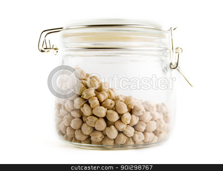 Bulk Chick Peas stock photo, Bulk chick peas in a glass container by Tyler Olson