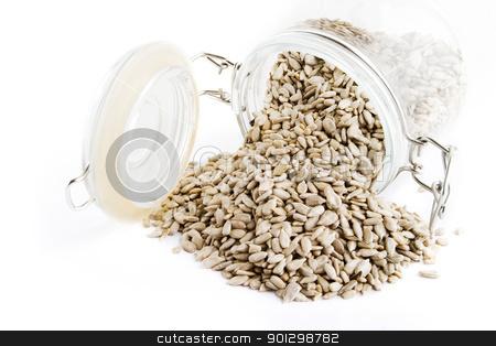Bulk Sunflower Seeds stock photo, Bulk sunflower seeds on white. by Tyler Olson
