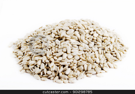 Bulk Sunflower Seeds stock photo, Bulk sunflower seeds on white. by Tyler Olson