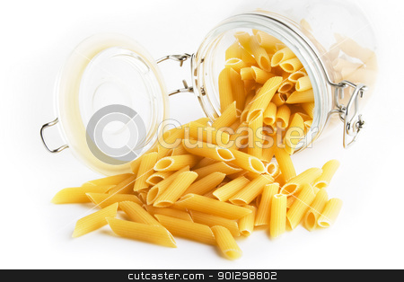 Penne Rigate stock photo, Penne Rigate pasta in a glass jar by Tyler Olson