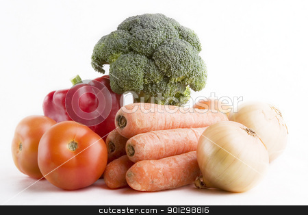Healthy Living stock photo, Group of raw vegetables on a white background by Tyler Olson