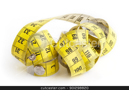 Tape Measure stock photo, A measuring tape on a white background by Tyler Olson
