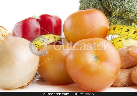 Vegetable Group stock photo, Vegetable group of food with tape measure by Tyler Olson
