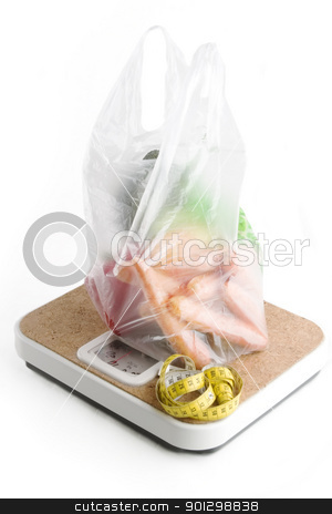 Healthy Choice stock photo, Healthy vegetables in a clear plastic grocery bag on a scale by Tyler Olson