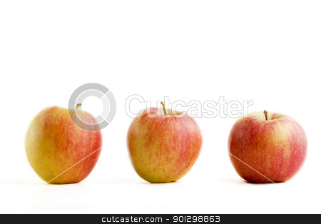 Apple Group stock photo, A group of three apples isolated on white. by Tyler Olson
