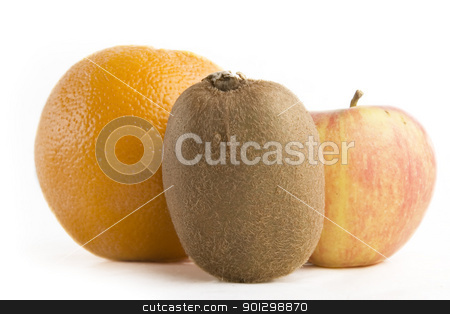Fruit Group stock photo, A group of fruit, an aple, kiwi and an orange. by Tyler Olson
