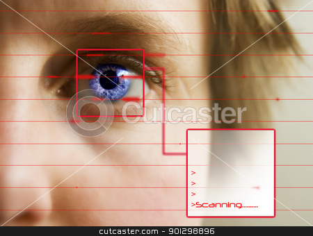 Retina Scan stock photo, Red lines scanning the face and retina of a woman with the word 'Scanning...' in a text box by Tyler Olson