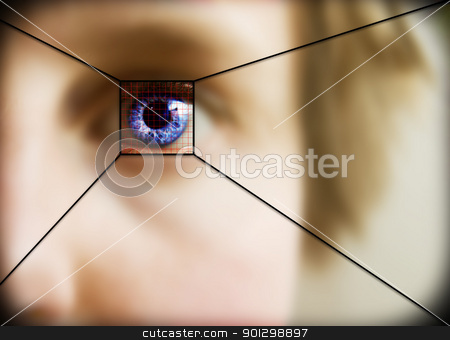 Retina Scan stock photo, Digital retina scan of a blue eyed woman by Tyler Olson