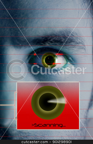 Scanning Iris stock photo, An iris scan concept image of a male with a few days beard growth.  by Tyler Olson