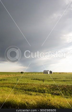 Prairie Field stock photo, Prairie Landscape with grain bins by Tyler Olson