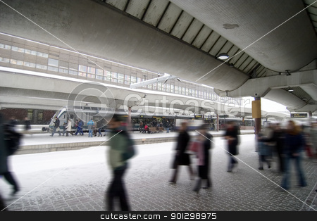Winter Travel stock photo, People at the Oslo main train station on a wintery day. by Tyler Olson