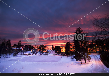 Purple Sunset stock photo, Sunset in Oslo Norway by Tyler Olson