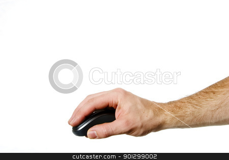 Hand on Mouse stock photo, A hand on a computer mouse isolated on white with clipping path. by Tyler Olson
