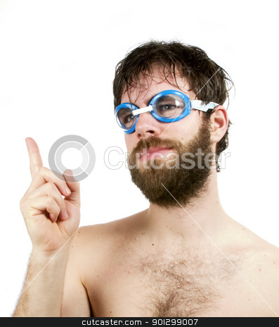 Fresh Idea stock photo, A young funny looking male with beard pointing a finger in the air, thinking of a fresh new idea. by Tyler Olson