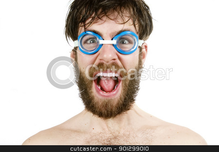 Scream stock photo, A humorous image of a young bearded male wearing swimming goggles, yelling. by Tyler Olson