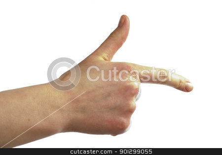 Hand Gun stock photo, An adult female hand pointing with the thumb in the air, making a gun shape by Tyler Olson